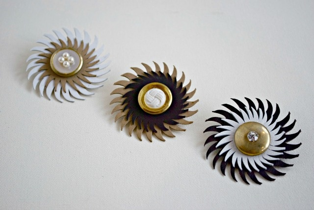 Spiritfire Designs sustainable fashion sun and moon brooches