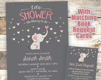 Приглашение на душ для детей Elephant - Мама для приглашения на душ - Приглашение на слон - Детский душ-слон