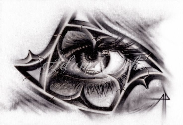 Eye and Tracery Black and Grey Airbrush Artwork Giclee print available for purchase at www.inkversion.com £15