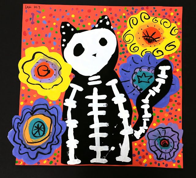 Paintbrush Rocket 3rd Grade Day Of The Dead Skelo Cats