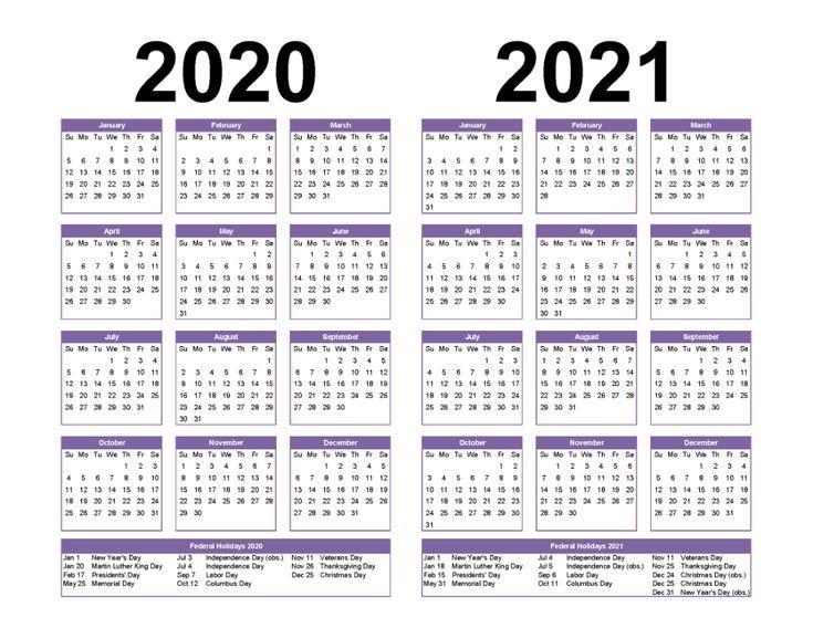 Free Printable 2020 And 2021 Calendar With Holidays Pdf Word