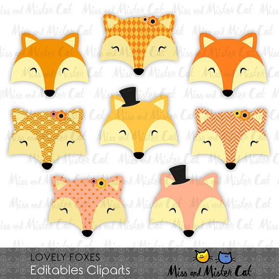 Fox clipart. Foxes vector graphics, Foxes clip art, digital images. Commercial use. Model Lovely Foxes  Vector clipart set is suitable for