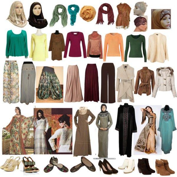 """Basic wardrobe for a Dark Autumn muslim girl"" by sabira-amira on Polyvore"
