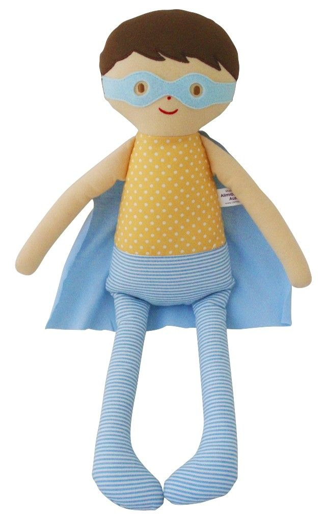 Alimrose Super Hero Doll 45cm Blue Yellow - Our latest addition to our family of heroes! Adorable cuddle doll for little heroes everywhere.