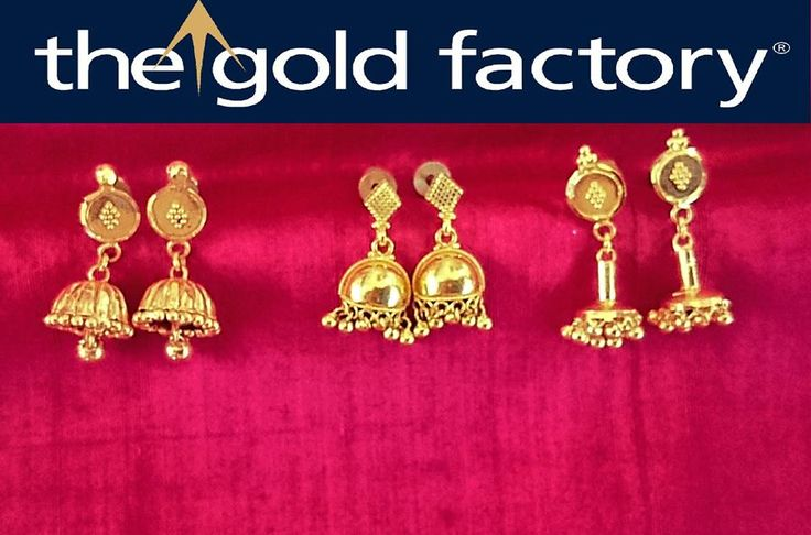 And here's a small sampling of how lovely and varied our mini jhumkas can be. Made in the least possible weight yet carefully detailed, these marvellously designed earrings are from The Gold Factory Originals Section and are entirely designed by us and handcrafted by our posse of skilled artisans in hallmarked 22K gold.
