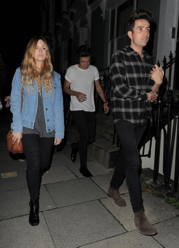 Harry Styles, Gemma Styles and Nick Grimshaw