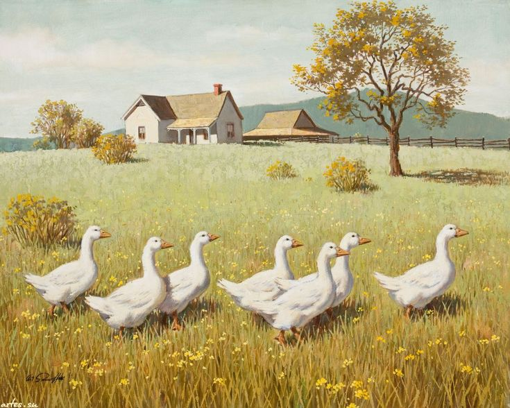 Descargar fondos de escritorio de dibujo, una bandada de gansos, Arthur Sarnoff 1280x1024