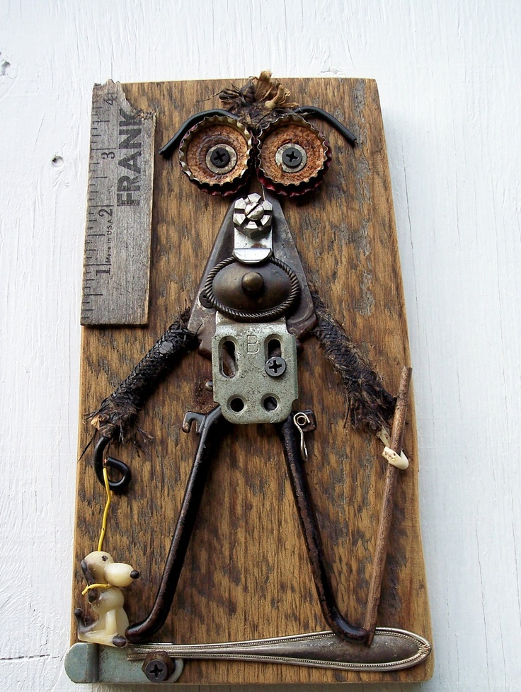 Reclaimed Art assemblage Frank Walks The Dog. $49.00, via Etsy.
