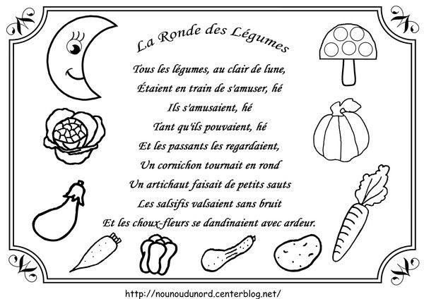 Comptine la ronde des légumesillustrée par nounoudunord.  Imprimer le coloriage grand format en fichier PDF cliquez :.acrobat.com.ou .ici.  Liste de mes comptines : -comptines-a-colorier- ...