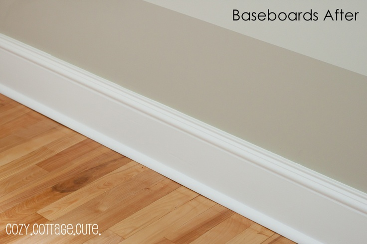 Trimming Out Baseboards and A Lazy Day    in two rooms white Baseboards