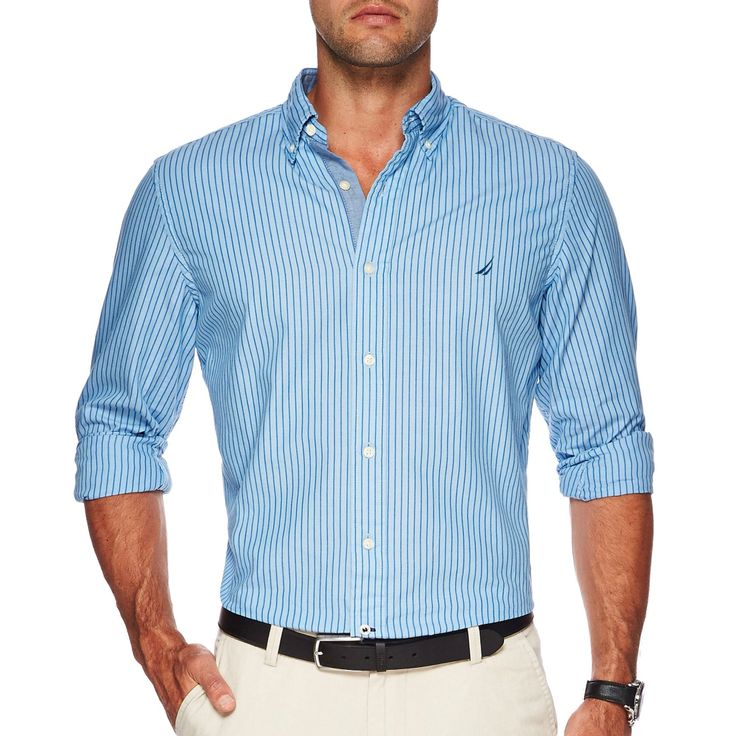 NAUTICA LS stripe shirt in Blue