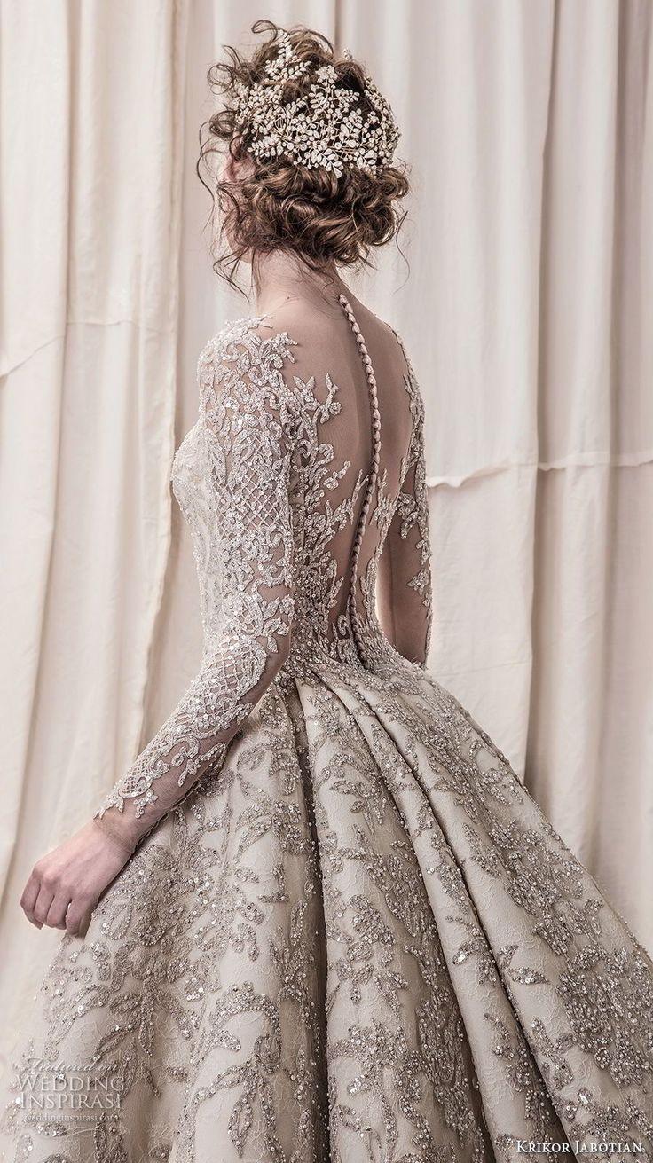 krikor jabotian spring 2018 bridal long sleeves scoop neck full embellishment glamorous princess ball gown a line wedding dress sheer button back royal train (04) zbv -- Krikor Jabotian Spring 2018 Wedding Dresses