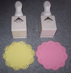 """Cut 4"""" circles & used 2 different Martha Stewart All Around Punch, using corner punch only, upside down to see placement of paper to figure out punch placement. Corner Punch Practice - Scrapbook.com"""