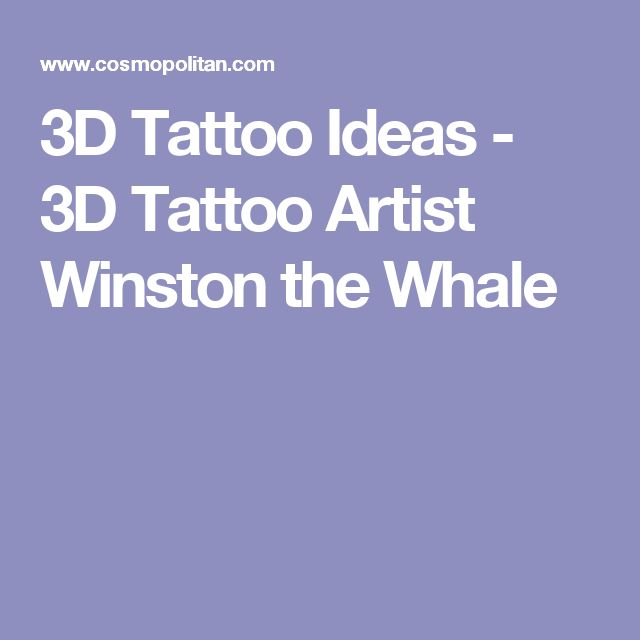 3D Tattoo Ideas - 3D Tattoo Artist Winston the Whale
