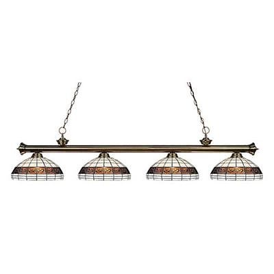 Riviera Antique Br Four Light Billiard Pendant With White Tiffany Gl Lamps Lighting And Ceiling Fans Pinterest