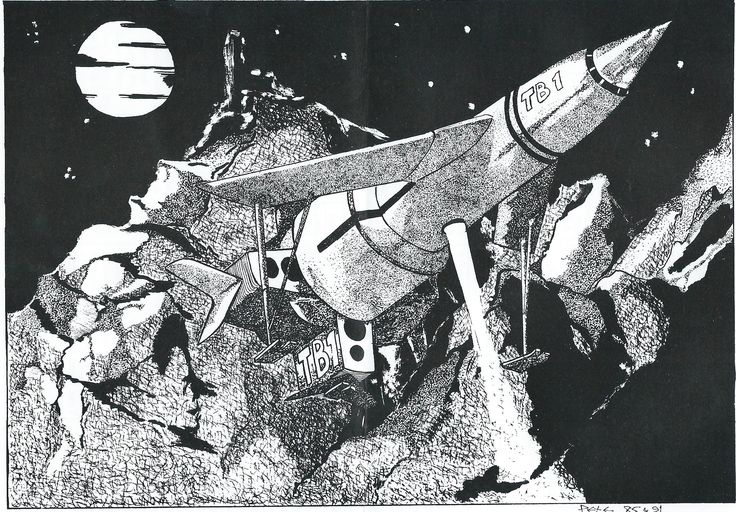 Fanderson_Thunderbird 1 artwork_great illustration of how T1 lands