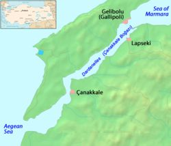 "Dardanelles - Wikipedia, the free encyclopediaThe Dardanelles (pron.: /dɑrdəˈnɛlz/; Turkish: Çanakkale Boğazı, Greek: Δαρδανέλλια, Dardanellia), formerly known as Hellespont (pron.: /ˈhɛlɨspɒnt/; Greek: Ἑλλήσποντος, Hellespontos, literally ""Sea of Helle""), is a narrow strait in northwestern Turkey connecting the Aegean Sea to the Sea of Marmara. It is one of the Turkish Straits, along with its counterpart, the Bosphorus. It is located at approximately"