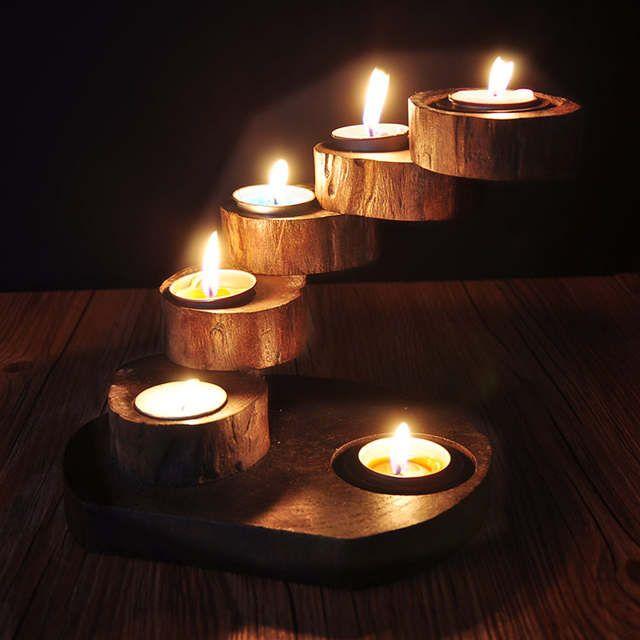 Creative personality handmade wooden candlesticks Southeast