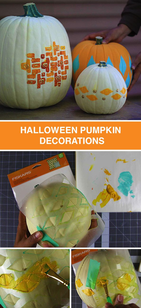 Dress up your home for Halloween with colorful painted pumpkins. Follow these steps and use stencils to create fall inspired pumpkin art. These would look great on a front doorstep or next to the fireplace!