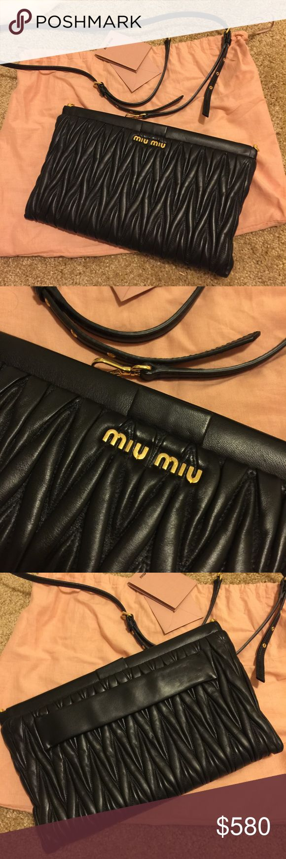 Miu Miu matelasse clutch 100% authentic. Used less than five times. No damages at all. Just like brand new. Comes with dustbag, authenticity card (covers manufacturing defects) Can be worn as a crossbody or clutch. Look at more pictures. Leave a comment if interested Miu Miu Bags Crossbody Bags