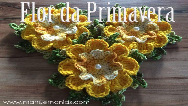 Aprendendo Flores em Crochê - FLOR DA PRIMAVERA                                                                                                                                                                                 Mais