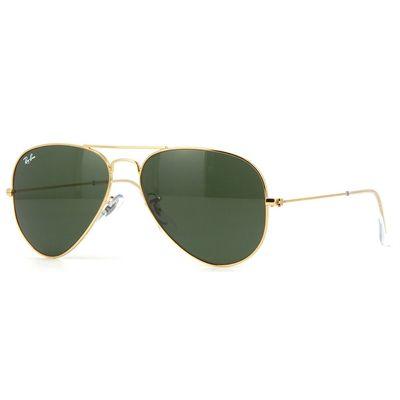 Óculos de Sol Aviador Ray Ban Unissex Metal Dourado Lentes Esverdeada…