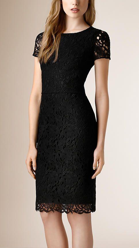Negro Vestido de encaje floral - Imagen 1