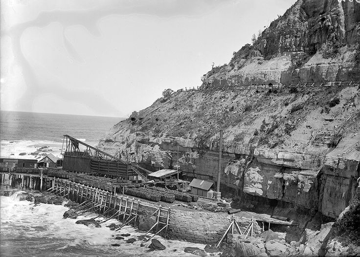 North of Wollongong, this is the Coalcliff Colliery with coal skips loaded and waiting on the jetty, circa 1907.  #TBT #ThrowbackThursday Copyright - http://www.trade.nsw.gov.au/legal/copyright