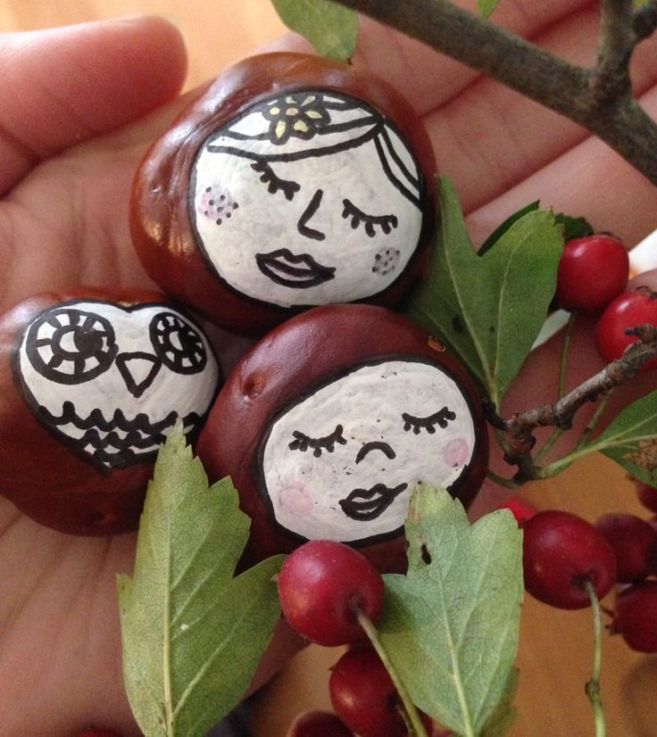Painted buckeyes and nuts - these are so cute for a little kids craft