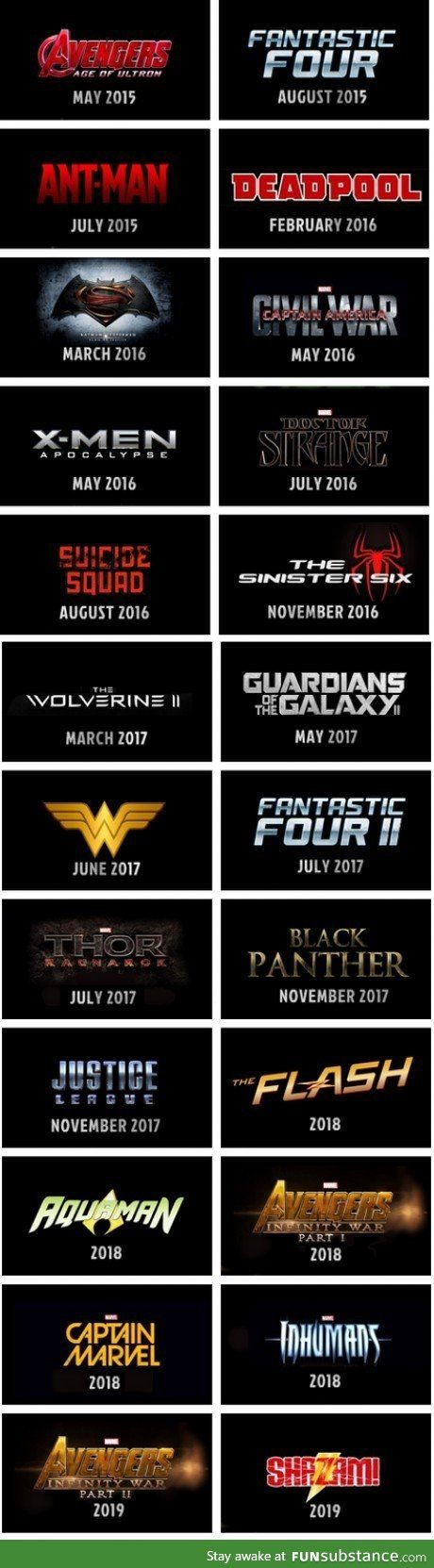 Marvel, DC, Fox, Sony...The full superhero movie lineup