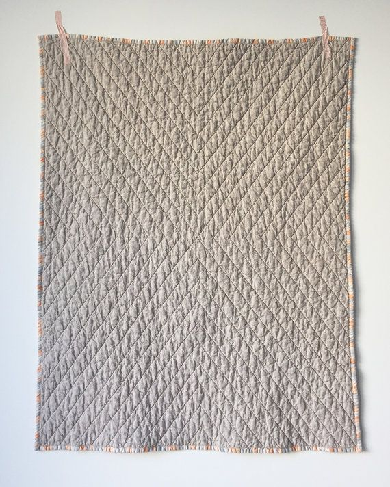 SPECIAL PRICE - Linen quilted baby blanket - natural colour