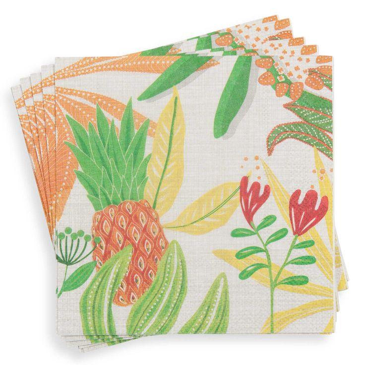 20 papieren servetten met tropische print 33x33cm CALIENTE