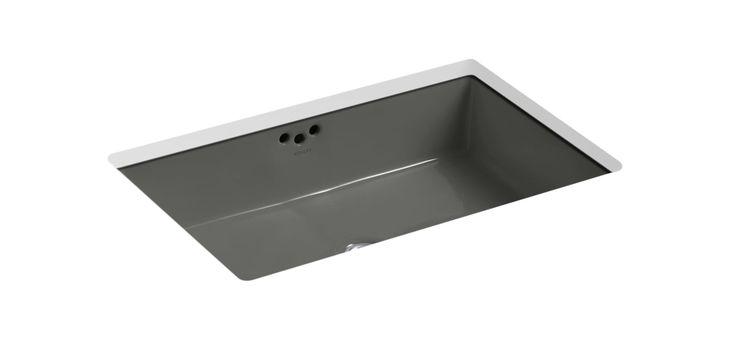 "Kohler K-2297 Kathryn 21"" Undermount Bathroom Sink with Overflow Thunder Grey Fixture Lavatory Sink Vitreous China"