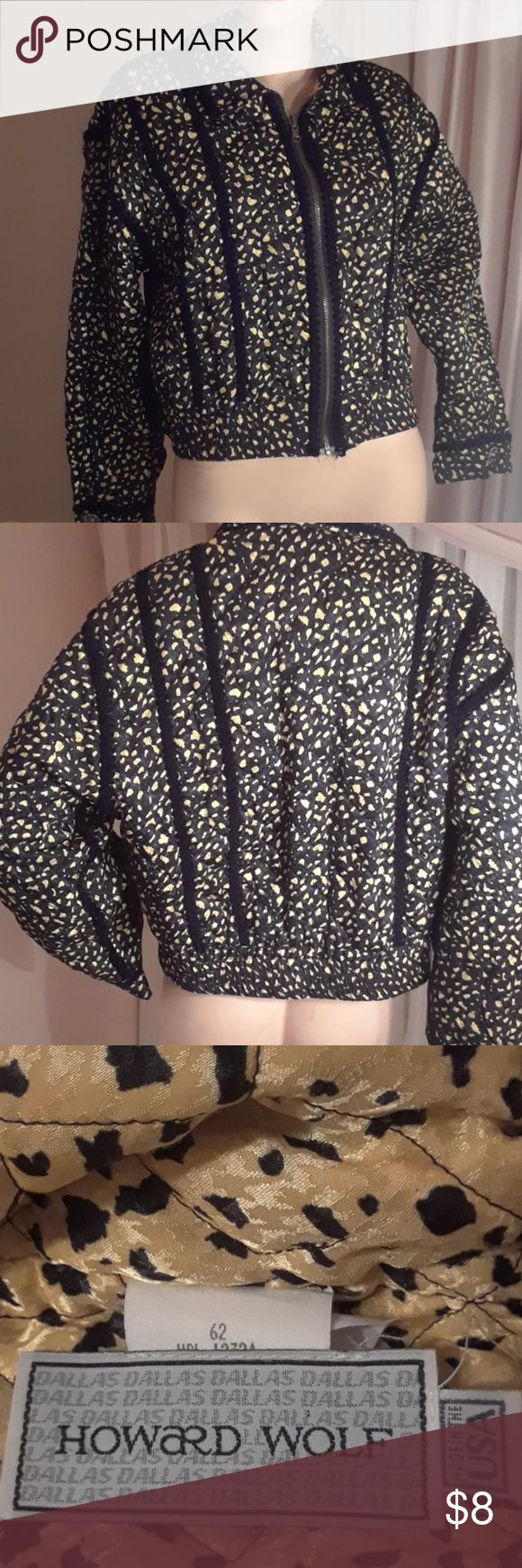 Vintage Howard Wolf of Dallas Jacket Black with gold. Lining is reverse colors. Gorgeous. Like new. Howard Wolf Dallas Jackets & Coats