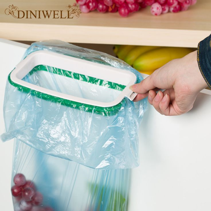 Diniwell творческий висит кухонный шкаф двери шкафа Подставка для хранения мусора держатель мешка Висячие Сумки клип мусор стойку купить на AliExpress