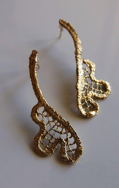 handmade brass  lace earrings,  σκουλαρίκια από δα...handmade jewellery - Kiki