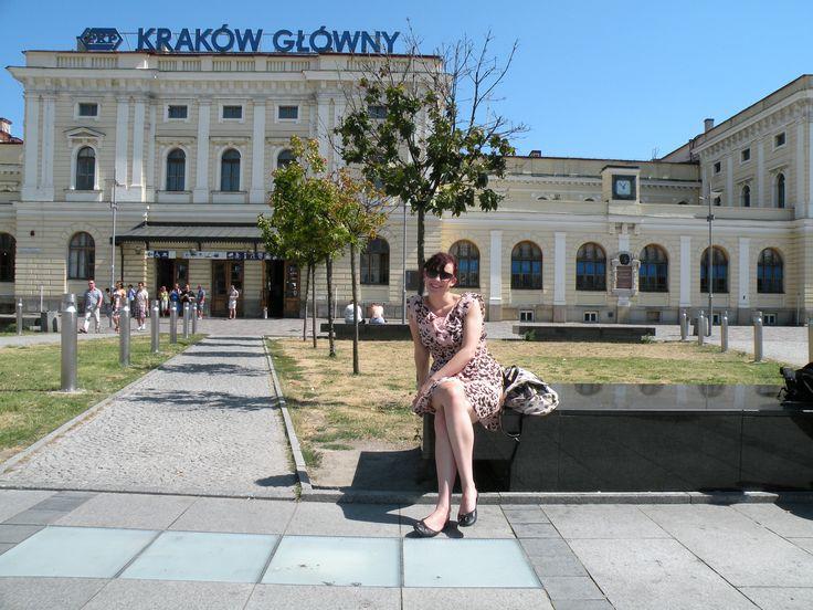 Outside the train station in Krakow