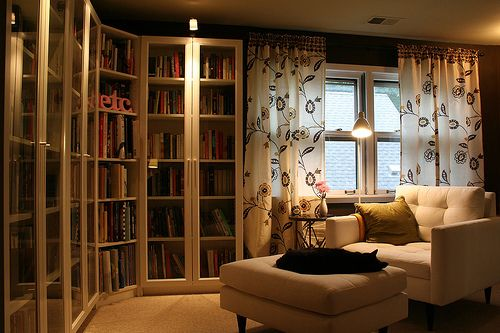 #interiorIdeas, Libraries Room, Home Libraries, Cozy Home, Libraries Design, Reading Chairs, Reading Nooks, Glasses Doors, Billy Bookcases