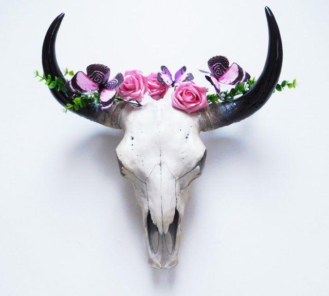 Deco Tete De Buffle Fleurs Deco Mexique Decor De Crane Tete Animaux Deco