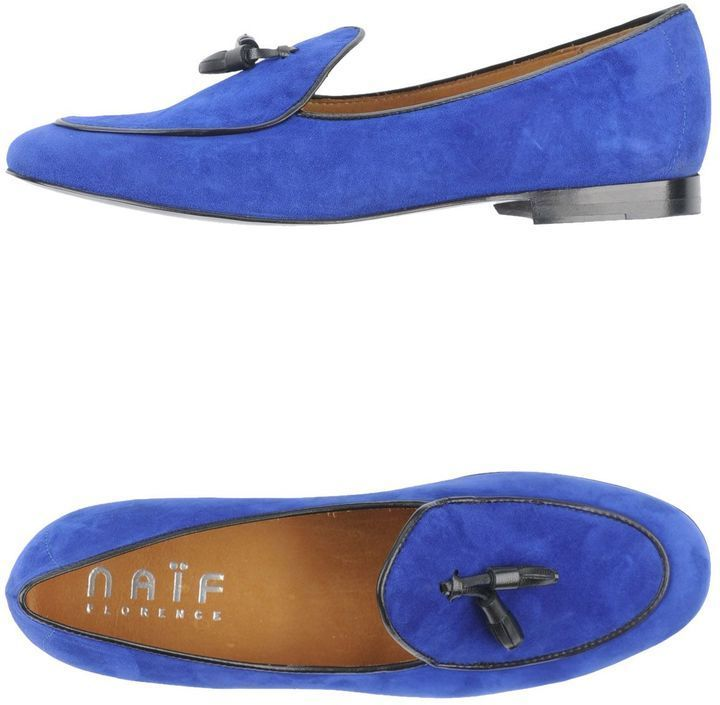 $108, Blue Suede Tassel Loafers: Naif Moccasins. Sold by yoox.com. Click for more info: https://lookastic.com/men/shop_items/313372/redirect