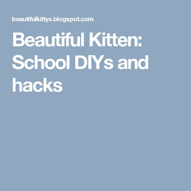 Beautiful Kitten: School DIYs and hacks