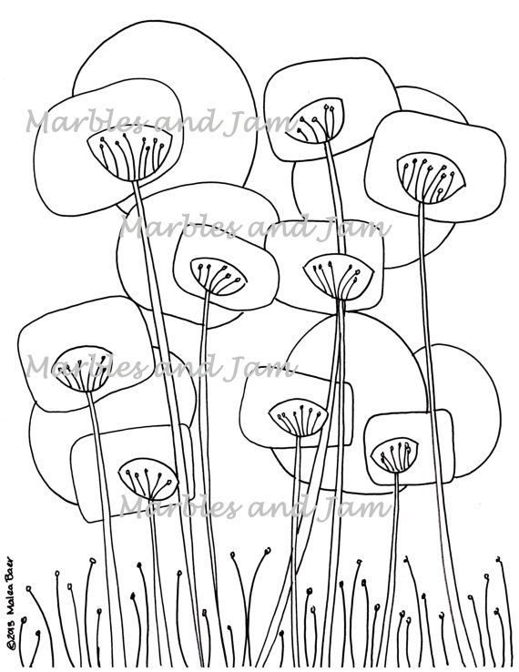 Abstract Poppies coloring page