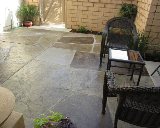 This #concrete #patio Project Has Been Stamped And Acid Stained With  Several Different Colors