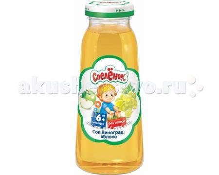 Спеленок Сок Виноград-яблоко с 6 мес. 200 мл  — 40р. -----------  Сок Спеленок Виноград-яблоко. Яблоко содержит огромное количество полезных веществ, прежде всего, витамин С и пектины. Усиливает кроветворение, очищает организм от токсинов, регулирует углеводный обмен, восстанавливает кишечную флору. Яблочный сок является источником солей калия, магния, фосфора, железа, яблочной, лимонной и других органических кислот. Яблочный сок рекомендуется всем, но особенно полезен детям с заболеваниями…