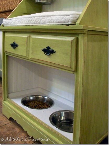 A DIY Pet Station. This was found at http://www.addicted2decorating.com. Thanks for the great find!!