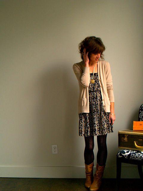 tights, boots, dress, cardi.