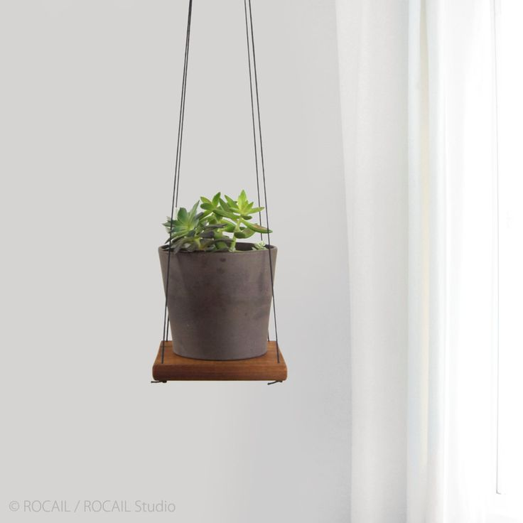 Rustic Cedar Plant Holder, Swing Shelf, Floating Shelving | Reclaimed Wood and Black Hanger | Hanging Succulent Wall Planter | Unique Gift by RocailStudio on Etsy