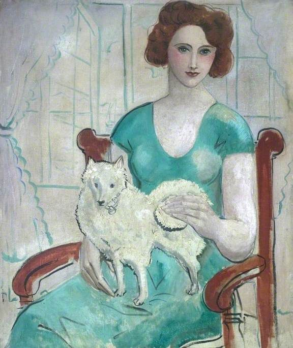 Woman with a Dog (date unknown) by Christopher Wood, Leicestershire County Council