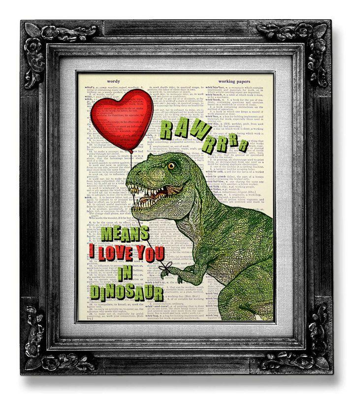 DINOSAURO Giclee Print, fidanzato regalo, amore regalo per lui, dinosauro Mixed Media COLLAGE d'arte, Poster di dinosauro - dinosauro Rawr significa ti amo di GoGoBookart su Etsy https://www.etsy.com/it/listing/190652974/dinosauro-giclee-print-fidanzato-regalo