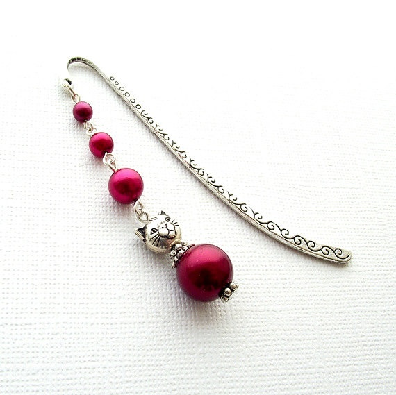 Cat bookmark beaded bookmark silver bookmark red by jinjajewellery, £5.00
